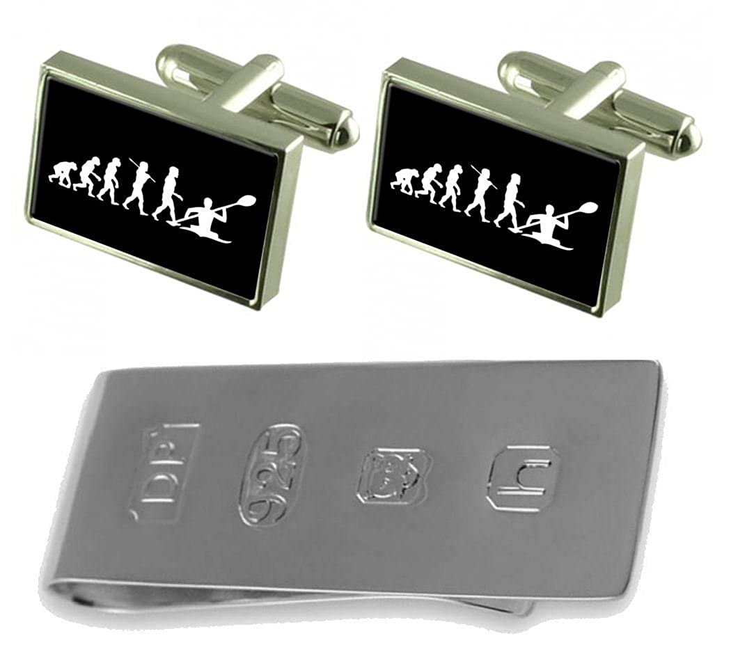 Select Gifts Evolution Ape to Man Kayak Cufflinks /& James Bond Money Clip