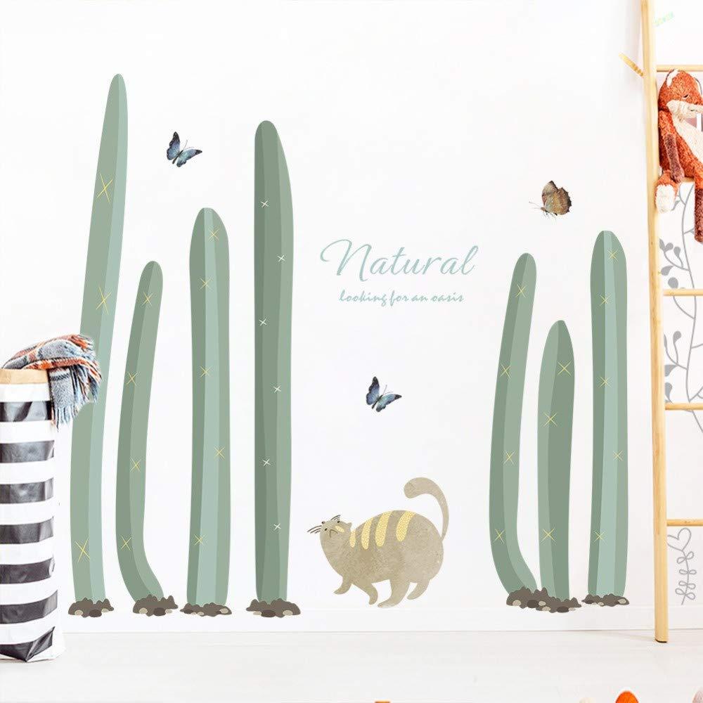 Planta Cactus Gato Mariposa Pegatinas de Pared Decoración para El ...