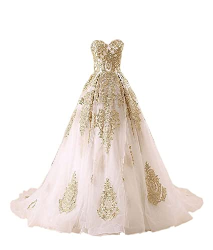 Mollybridal Sweetheart A line Gold Lace Organza Wedding Dresses For Bride