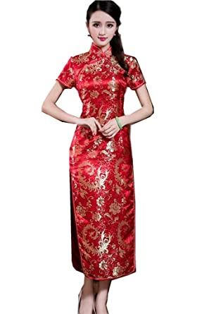 7969e170ab7 Amazon.com  Shanghai Story Short Sleeve Long Qipao Chinese Cheongsam ...