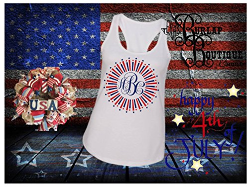 Handmade July 4th Independence Day Personalized Firework Burst Racerback Tank Tops Sizes S - 2XL Women Toddlers Youth Sizes Available Monogrammed ()