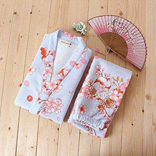 Set Kimono delle cotone giapponese in Blue da Pigiama abiti abito donne Stile Cat sposa x1CZwYWPqC
