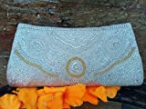 Indian ethnic Vintage style beaded wallet| White n Gold Handmade clutch bag | Women Bead walllet | Prom party clutch bag