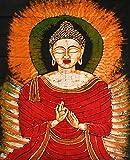 Buddha in the Dharmachakra Mudra - Batik Painting On Cotton