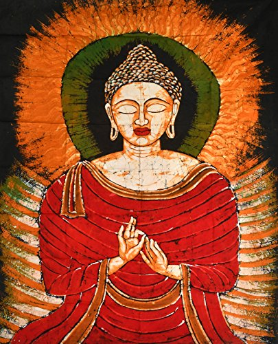 Buddha in the Dharmachakra Mudra - Batik Painting On Cotton by Exotic India