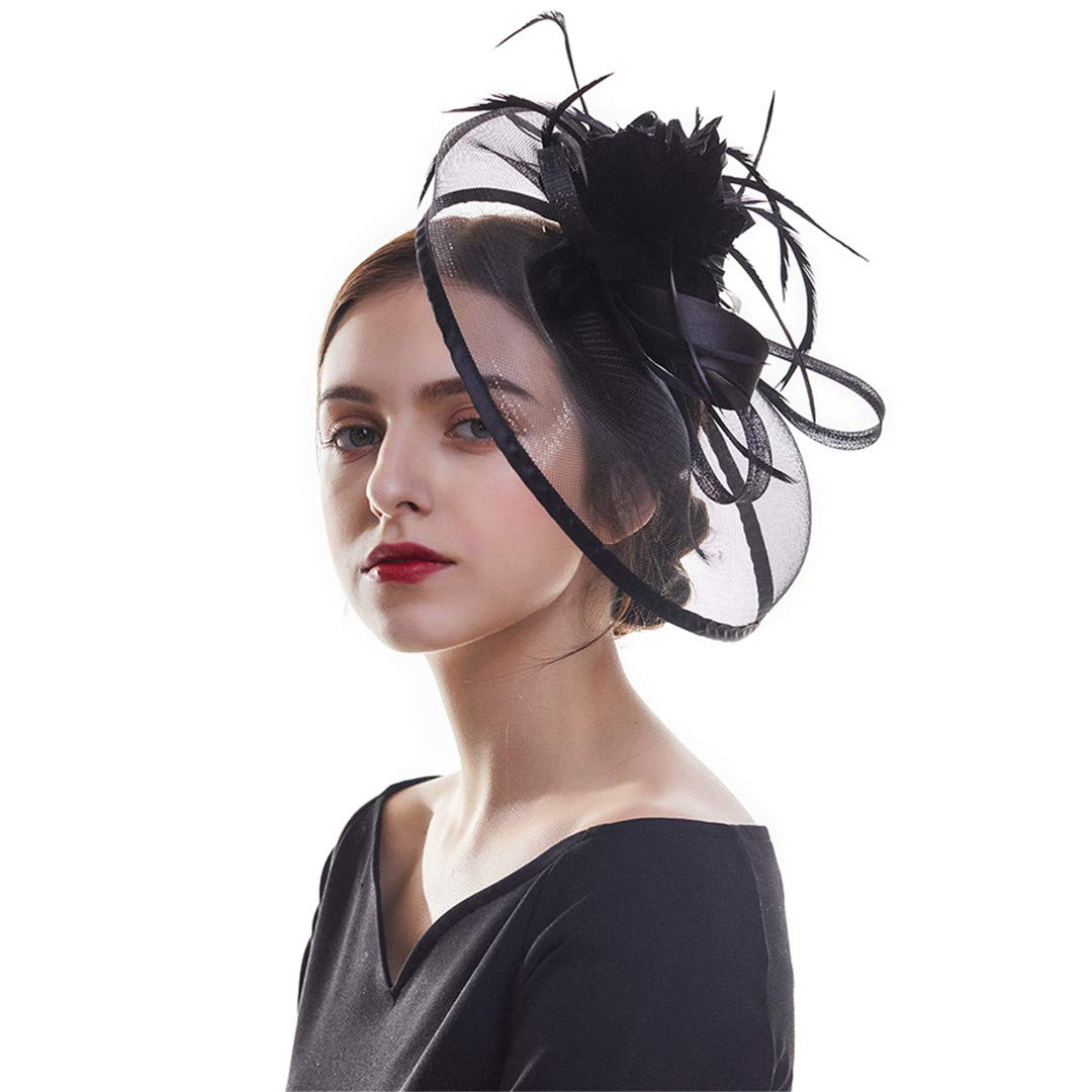 Women Fascinator Hat Wedding Bride Fascinator Veil Hat Ribbons Feathers Hair Clip With Hairband Sinamay Cocktail Party Black