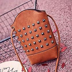 JD Million shop Women Handbag Rivet Messenger Bag Slim PU Leather Bucket Crossbody Shoulder Bags Small Body Purse 28S7714 drop shipping