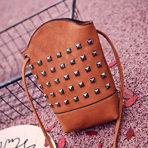 JD Million shop Women Handbag Rivet Messenger Bag Slim PU Leather Bucket Crossbody Shoulder Bags Small Body Purse 28S7714 drop shipping