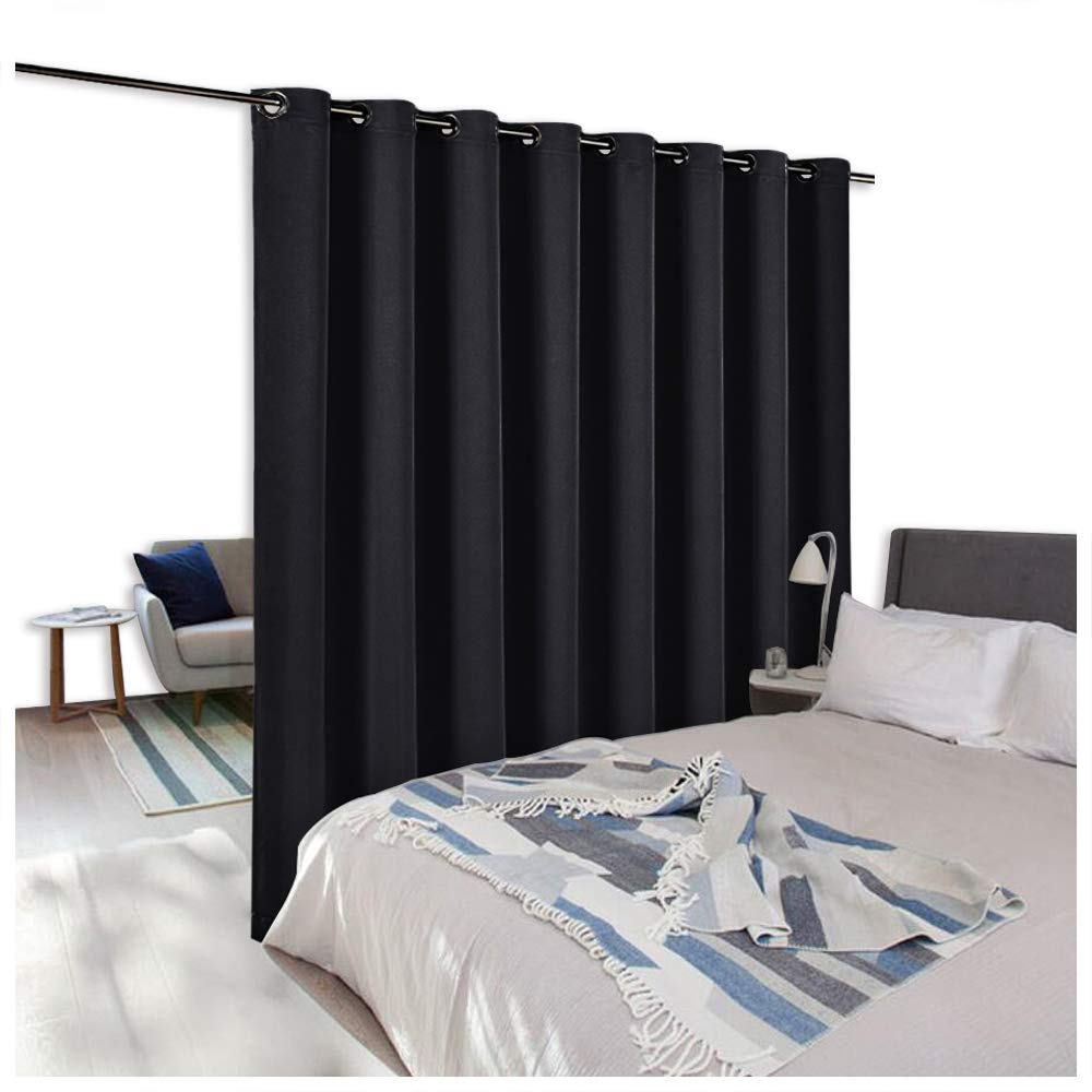 NICETOWN Room Dividers Panel Screens Partitions, Wide Width Grommet Top Modern Privacy Curtain Room Divider, Commercial Room Dividers (1 PC, 8ft Tall x 15ft Wide,Black)