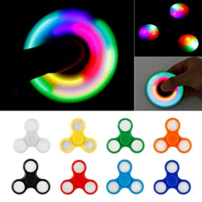 PrimeTrendz TM LED Light Hand Spinner with Switch Plastic EDC Hand Spinner For Autism and ADHD Relief Focus Anxiety Stress Toys Gift: Sports & Outdoors