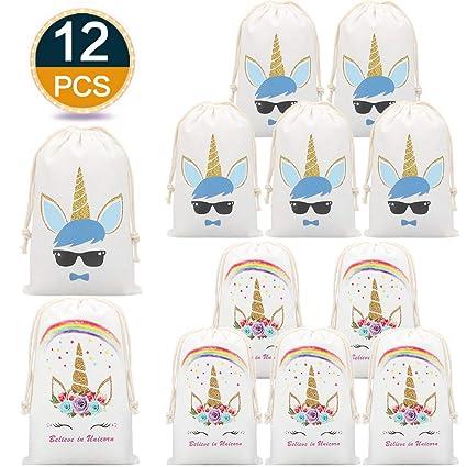 12Pack Unicornio para Bolsos de Regalos para Niñas de Niños, Los Bolsos Unicorn para Los Niños, el Bolso de Lona con Lazo, el Regalo Reutilizable