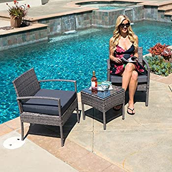 Belleze 3 PCS Patio Outdoor Rattan Furniture Set Cushioned Garden Wicker  Rattan With Cushion,