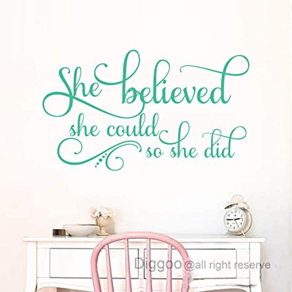 She Believed She Could So She Did Wall Decal Inspirational Quotes Nursery  Wall Decals Girls Bedroom Decor (Teal,13\