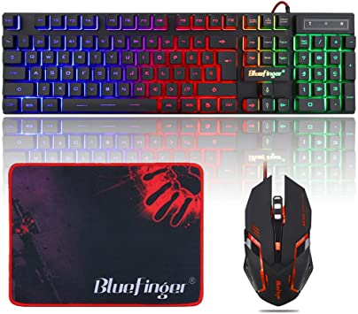 USB Wired Gaming Keyboard RGB LED Backlit Computer PC Mechanical Backlight Mouse