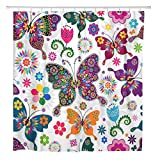 Pink and Purple Polka Dot Shower Curtain ArtSocket Shower Curtain Purple Spring White Floral Pattern Colorful Butterflies and Flowers Home Bathroom Decor Polyester Fabric Waterproof 60 x 72 Inches Set with Hooks