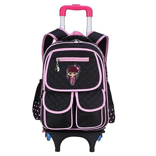 YipGrace Dulce Pequeña princesa niño de ruedas Bolsas escuela mochilas con ruedas mochilas de carrito Bolsa para la escuela Negro: Amazon.es: Zapatos y ...