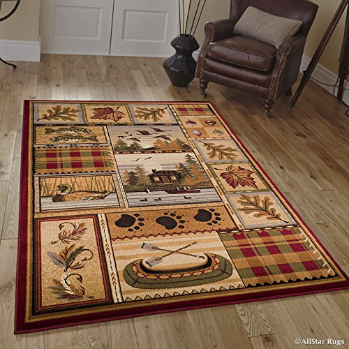 Cheap Allstar 8 X 11 Burgundy with Green Rustic Lodge Assorted Collection Area Rug (7′ 7″ X 10′ 6″)