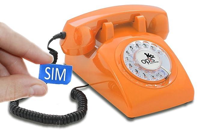 OPIS 60s Mobile: móvil de sobremesa/teléfono Fijo con sim/teléfono móvil para Mayores/teléfono Retro móvil con Disco de marcar (Naranja)