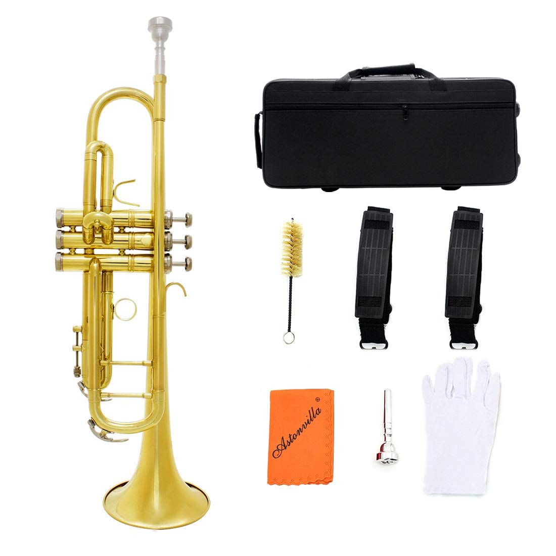 SHMYQQ Bb Trumpet Pro Case Care Kit,Nickel Plated Intermediate Double-Braced Bb Trumpet Golden Small Brass Tube Body Large Diameter Alto B Tone
