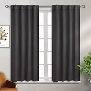 BGment Rod Pocket and Back Tab Blackout Curtains for Bedroom - Thermal Insulated Room Darkening Curtains for Living Room, 2 Window Curtain Panels (38 x 54 Inch, Dark Grey)