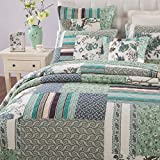 Tache 2-3 Piece 100% Cotton Floral Patchwork Forest Glade Green Bedspread Quilt Coverlet Set, King