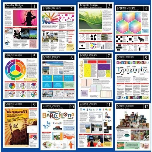 American Educational Products CP6075,''Graphic Design'' Poster Set, Pack of 5 Sets