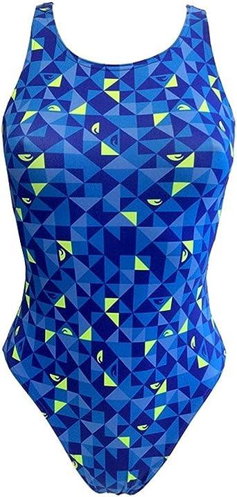 Turbo - Bañador Mujer Origami Azul Profesional Señora, Traje de Baño de Natacion Entrenamiento Competicion, Tira Ancha Doble Capa: Amazon.es: Ropa y accesorios