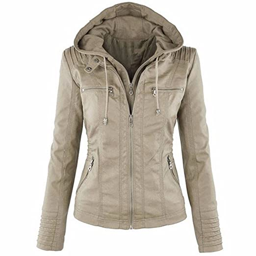Z.M Womens Hooded Removable Coat Fashionable Zipper Outerwear Detachable Faux Leather Moto Zip Jackets(AT