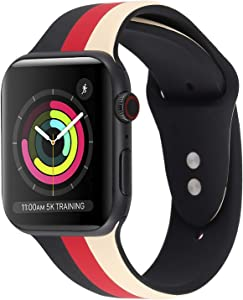 iDream365 Band Compatible with Apple Watch 42mm 44mm,Soft Silicone Fadeless Pattern Printed Replacement Floral Bands for iWatch Series 4,3,2,5,Sport Edition Women Men-Stripe Beige, Red, Black
