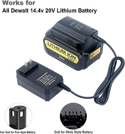 Lasica Replacement Dewalt 14.4V//20V Lithium Battery Charger DCB107 DCB115 DCB112 for Dewalt 14.4V or 20V Slide Style Lithium Battery DCB205 DCB200 DCB201 DCB203 DCB204 DCB206 DCB207 DCB180 DCB181