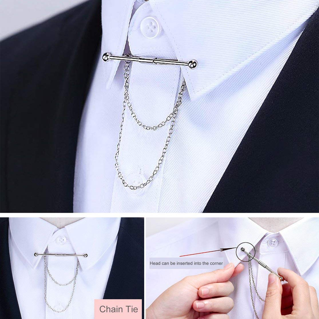 LouiseEvel215 Plain Metal Men Stylish Shirt Collar Clip Bar Pin Clip Chain Tie Brooch Necktie Silver Hot