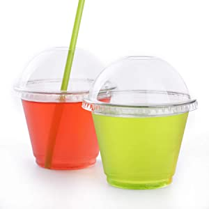 GOLDEN APPLE, 9oz. Clear Plastic Cups with Dome lids(with Hole)25sets