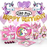 180+ PCS Magical Unicorn Birthday Party Supplies & Decorations - Glittery Unicorn Headband | Disposable Tableware Set | 30 Magical Balloons | 24 Pc Unicorn Cupcake Wrappers & Toppers | Party Favors