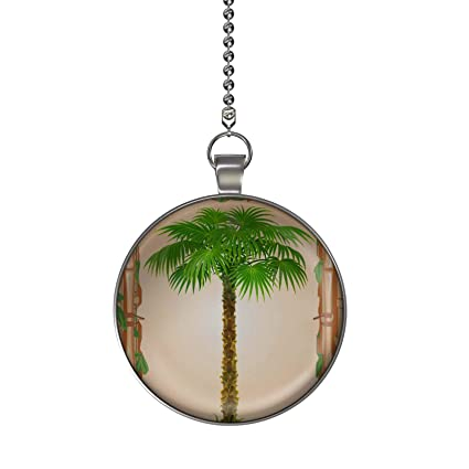 Gotham Decor Bamboo Palm Tree Ceiling Fan Light Pull Pendant With