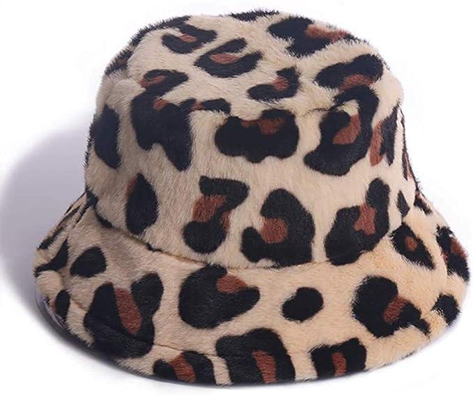 Tangpingsi Women Thicken Fuzzy Plush Bucket Hat Vintage Leopard Sunscreen Fisherman Cap