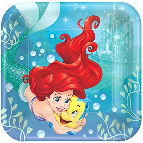 [American Greetings The Little Mermaid Square Plate (8 Count), 9