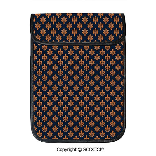 (SCOCICI Shockproof Tablet Sleeve Compatible 12.9 Inch iPad Pro Victorian Floral Pattern of Orange Color and Curly Ornaments Gothic Era Decorative Tablet Protective Bag)