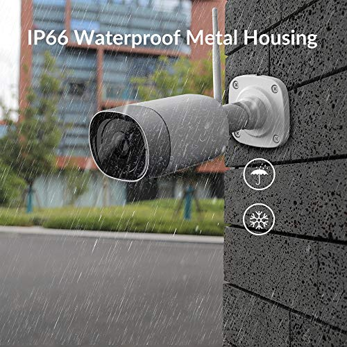 Outdoor Security Camera, 1080P Wi-Fi Surveillance Camera with IP66 Waterproof Metal housing, 50ft Night Vision, Motion Detection, Compatible with Alexa, 30 Days Cloud Trial, 128GB Local Storage