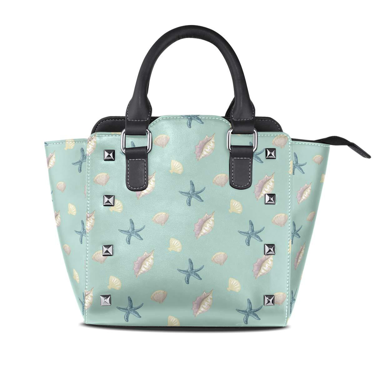 Design 1 Starfish Funny Shell Top Handle Satchel Handbags Leather Tote Adjustable Shoulder Rivet Bag for Women