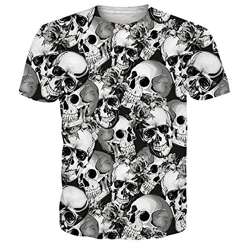 Men's Short Sleeve T-Shirts Funny Pattern Black Skull Skeleton Bones Print Casual Graphic Tees Cute Summer Tops Clothing