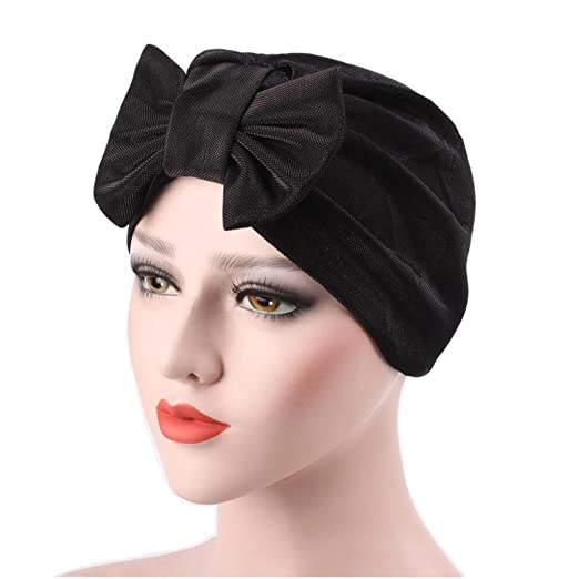 bcd5fb10aea9ed QingFan Women Solid Bow Pre Tied Cancer Chemo Hat Beanie Turban Stretch  Head Wrap Cap (