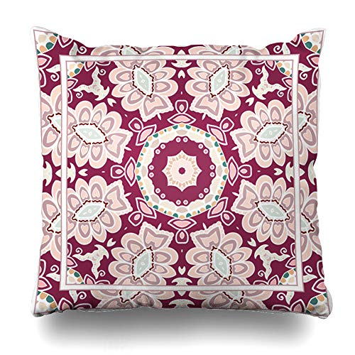 - Ahawoso Throw Pillow Cover Pillowcase Headwear Artistic Ascot Neckwear Authentic Bandana Bandanna Border Design Kerchief Zippered Square Size 16 x 16 Inches Home Decor Cushion Case