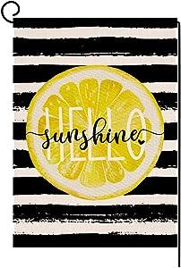 BLKWHT Watercolor Stripe Lemon Summer Garden Flag Vertical Double Sided Hello Sunshine Spring Burlap Yard Outdoor Decor 12.5 x 18 Inches