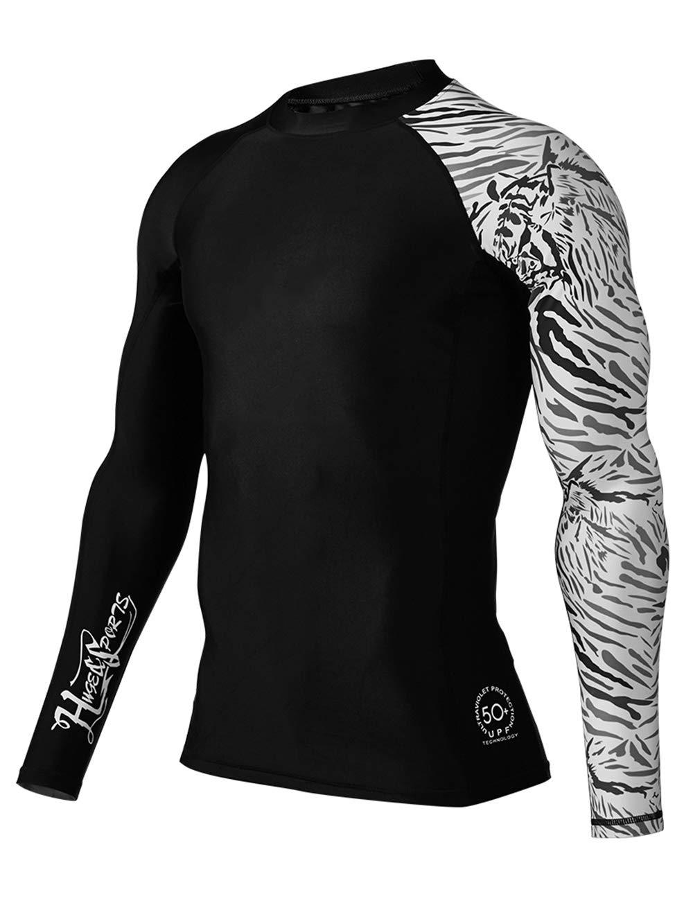 HUGE SPORTS Men's Splice UV Sun Protection UPF 50+ Skins Rash Guard Long Sleeves (Cow, L) by HUGE SPORTS