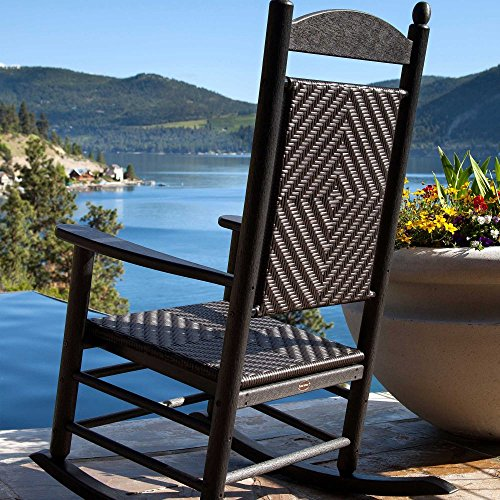 Polywood Jefferson Rocking Chair - POLYWOOD K147FBLCA Jefferson Woven Rocker, Black Frame/Cahaba