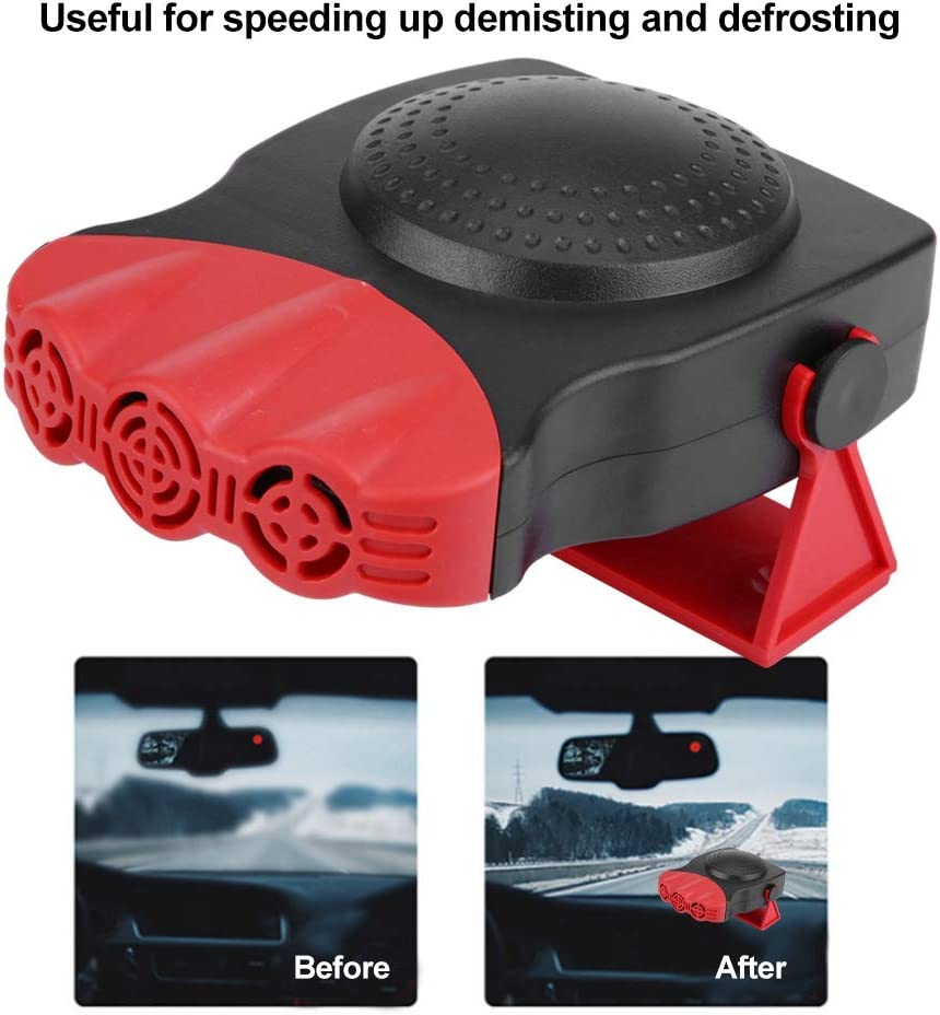 12V 150W Windshield Defogger Defroster BluCos Portable Car Heater Defroster 30s Fast Heating and Low Noise 2 in 1 Powerful Car Fan Heater with 180 Degree Rotating Heat /& Cool Wind