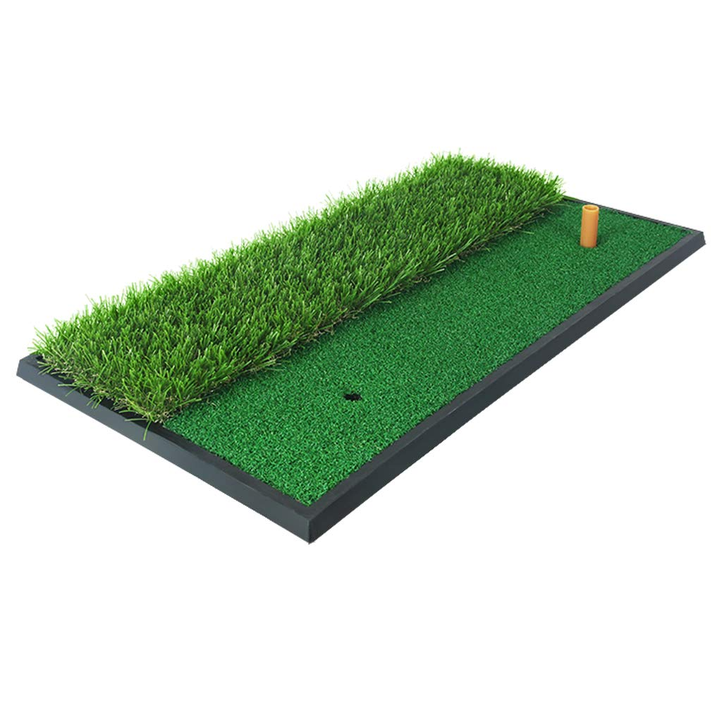 PGM Dual Turf Golf Hitting Mat/Golf Chipping Driving Cutting Mat with Rubber Tee/Rough & Fairway Golf Practice Mat for Backyard Home Use/Portable Golf Training Aids by PGM