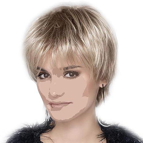 Las mujeres pelucas cosplay traje de pelo sintético peluca corta recta para  damas mujeres con gorro 8b00eab2b051