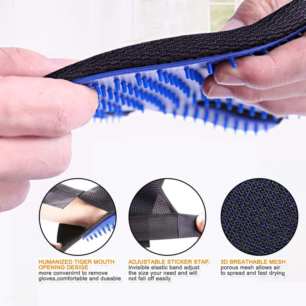 Long and Short Hair Cats Gloves Hair Removal Brush Enhanced Five-finger Design-One pair Author Dooki-Be Gentle Hair Removal Brush Pet Grooming Gloves Suitable for Dogs