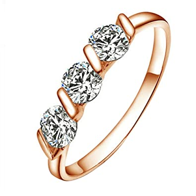 Yoursfs Dainty Wedding Rings for Women 3 Austrian Crystal Band Ring for Her 18ct Rose Gold Plated Fashion Jewellery o9PCp8V6